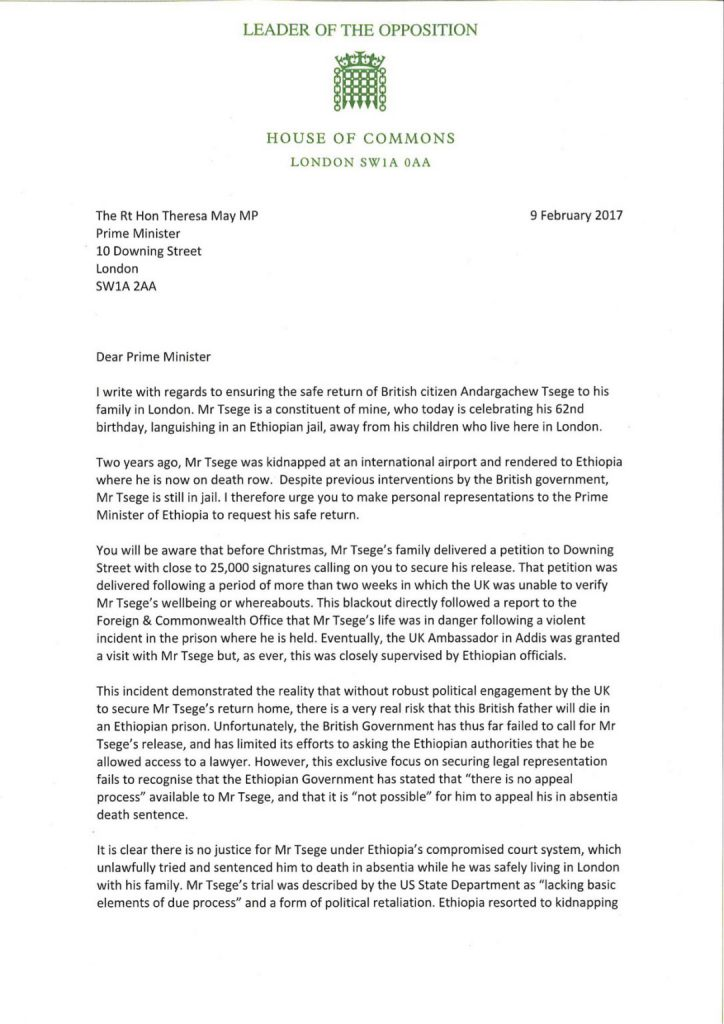 Letter to PM Theresa May
