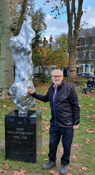 Jeremy Corbyn with statue of Mary Wollstonecraft