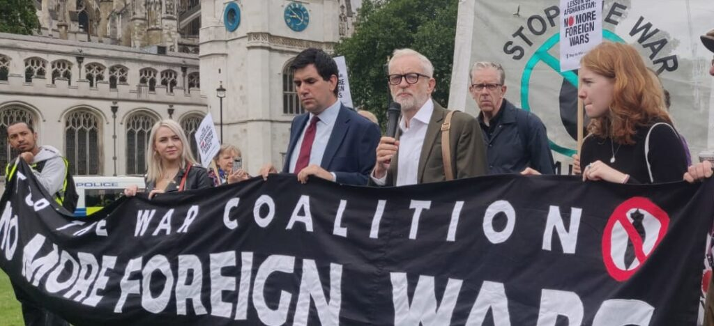"""Jeremy at the """"No More Wars"""" vigil held by the Stop the War Coalition and others in Parliament Square"""
